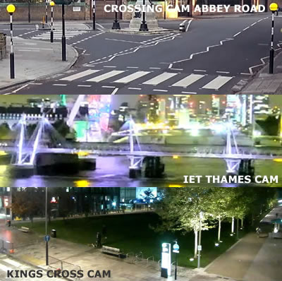 Photographs of various London scenic webcams including Abbey Road zebra crossing, IET Thames and London landmarks and Kings Cross Development
